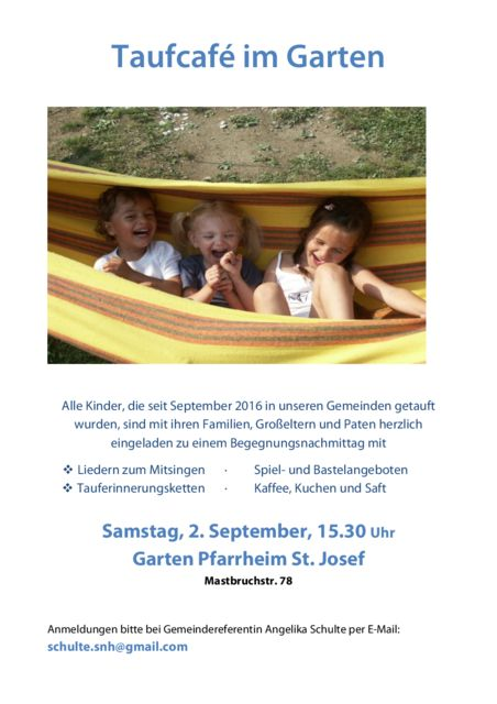 Taufcafé Im Mastbruch Am 2. September
