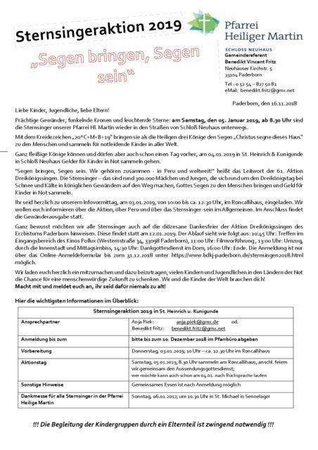 thumbnail of Anmeldung der Sternsinger Hl. Martin 2019