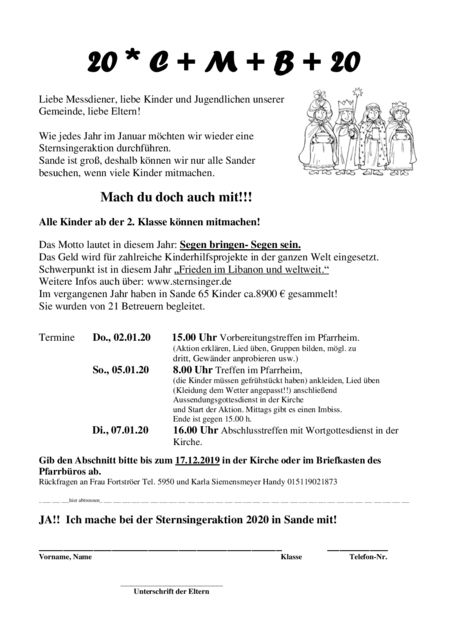 thumbnail of Einladung Sternsinger Sande 2020