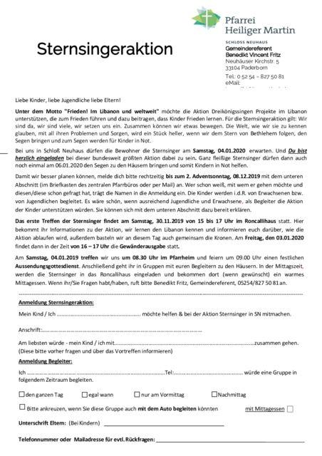 thumbnail of Einladung Sternsinger Schloss Neuhaus 2020