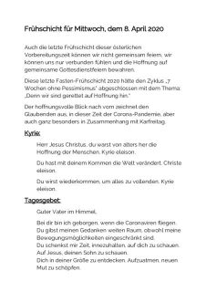 thumbnail of Frühschicht in der Fastenzeit (08.04.2020)