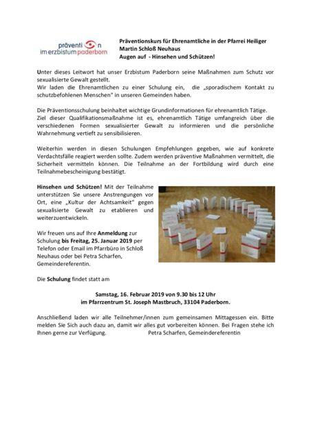 thumbnail of Präventionskurs für Ehrenamtliche in der Pfarrei Heiliger Martin Schloß Neuhaus