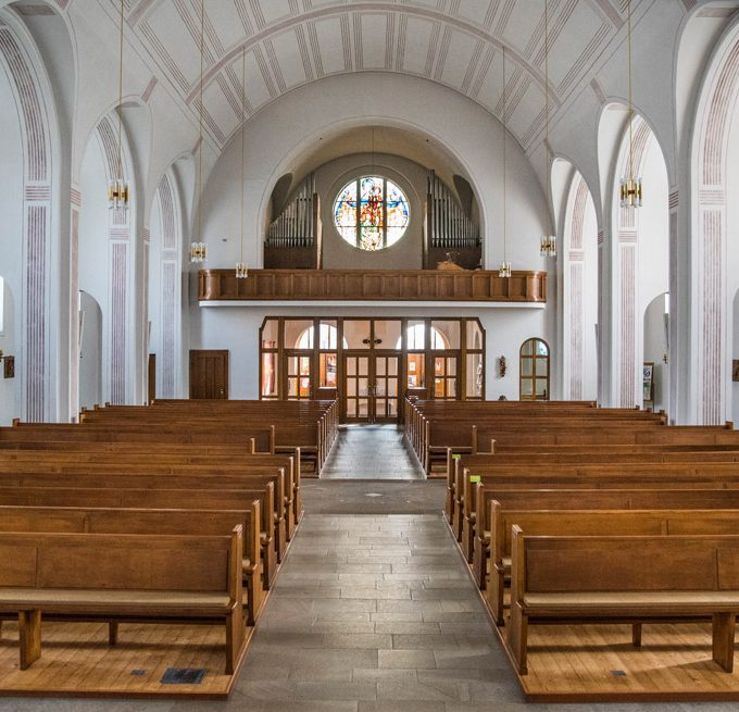 Sande St. Marien, Blick vom Altar zum Eingang