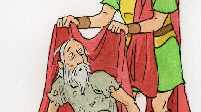 Historiendarstellung über Den Heiligen Martin Mit Martinsliedersingen