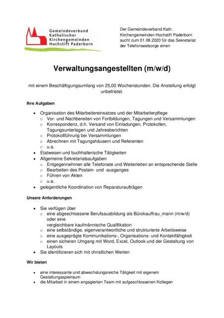 thumbnail of Stellenanzeige Zeitung Verwaltungsgestellte Sekretariat Telefonseelsorge